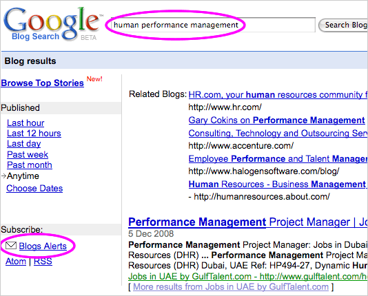 Google Blog Search for human performance management