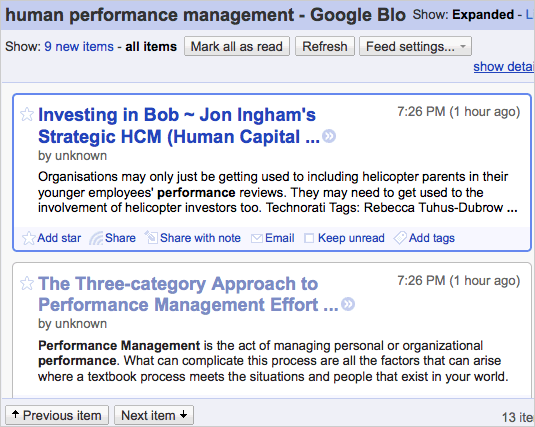 Human performance management feed in Google Reader