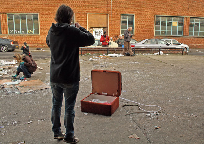 Photographing discarded furniture