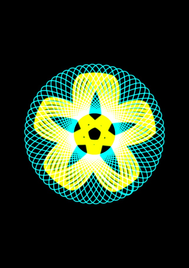 Green and yellow spirograph