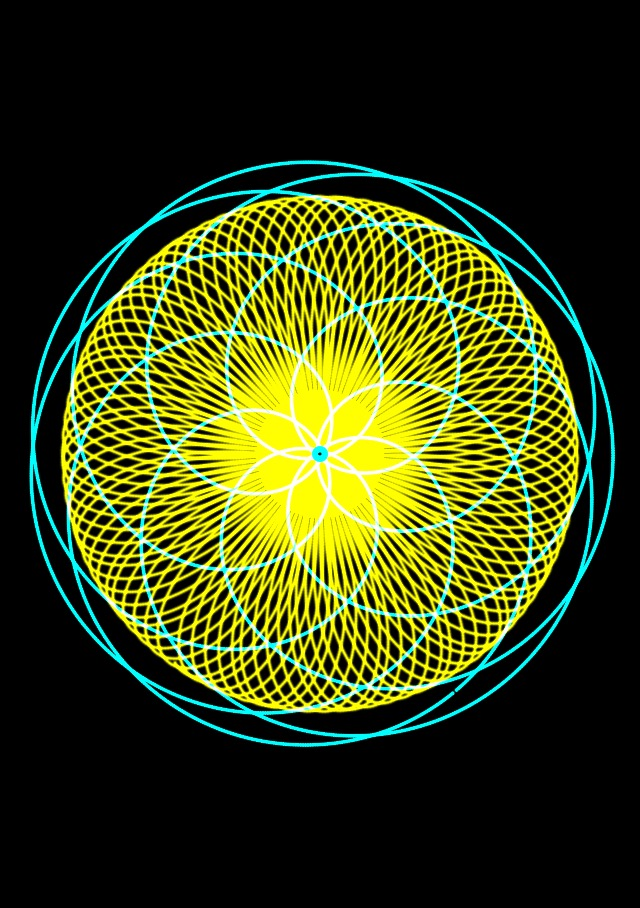 Yellow and green spirograph