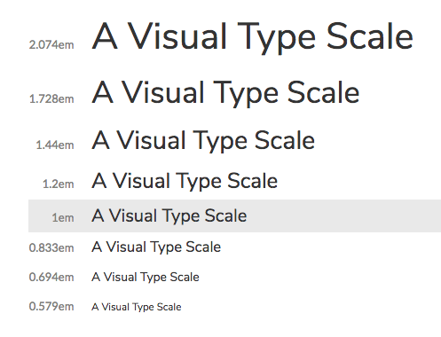 Font sizes for body text and headings